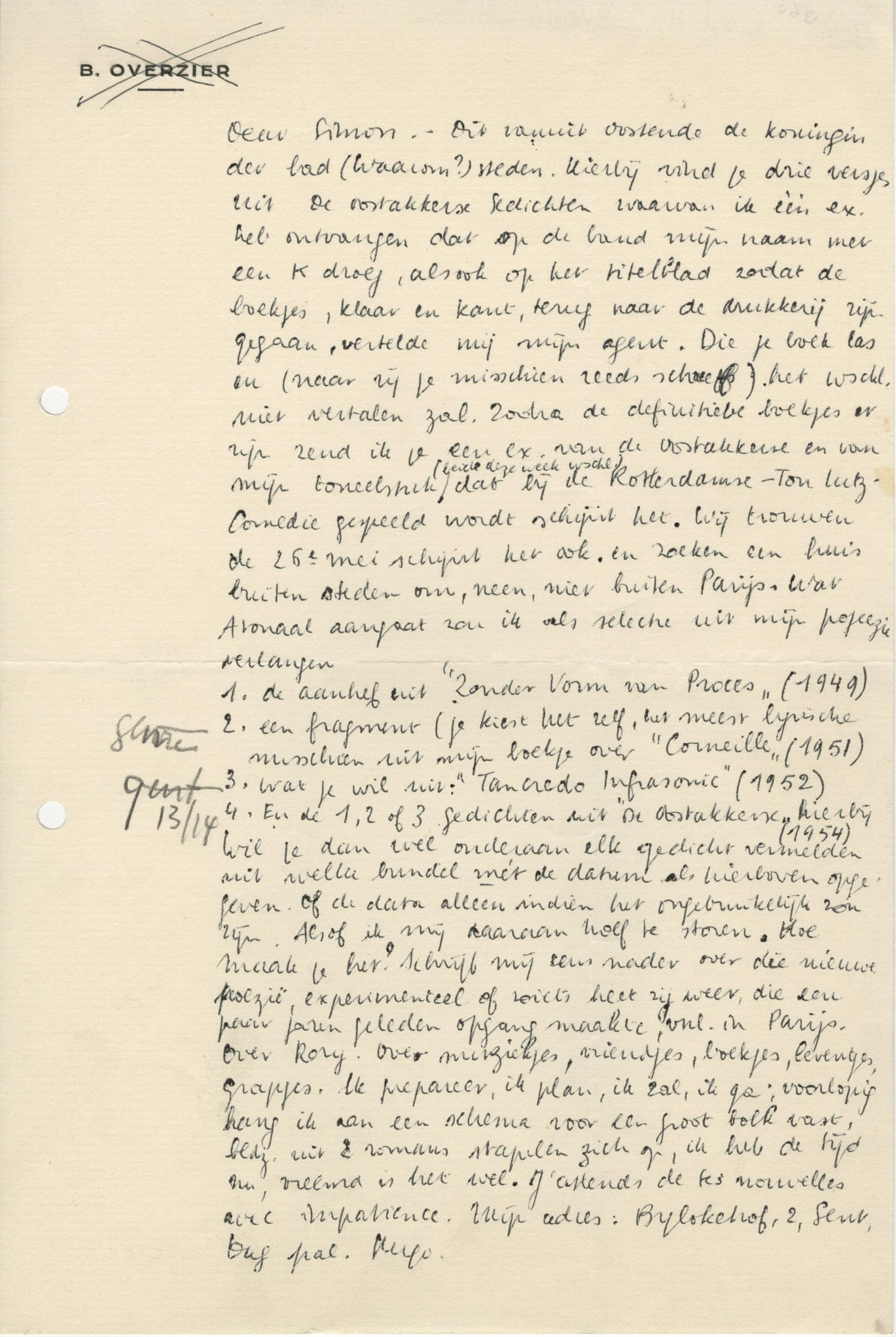 Bedwelming Zeven overwegingen bij een brief van Hugo Claus aan Simon #BZ12